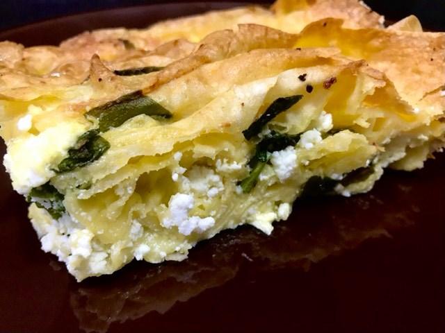 Harmonika pita sa sremušem, Pie with wild garlic, Torte mit Bärlauch